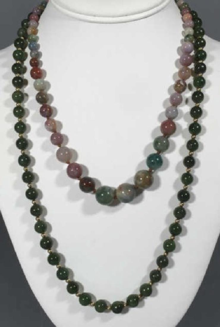 Vintage Green Jade & Agate Necklace Strands