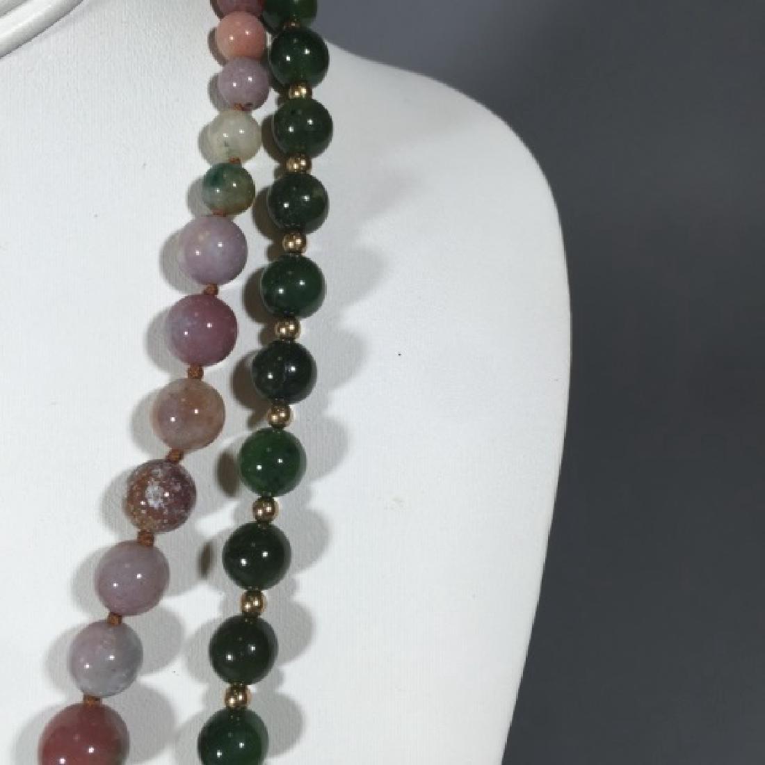 Vintage Green Jade & Agate Necklace Strands - 2