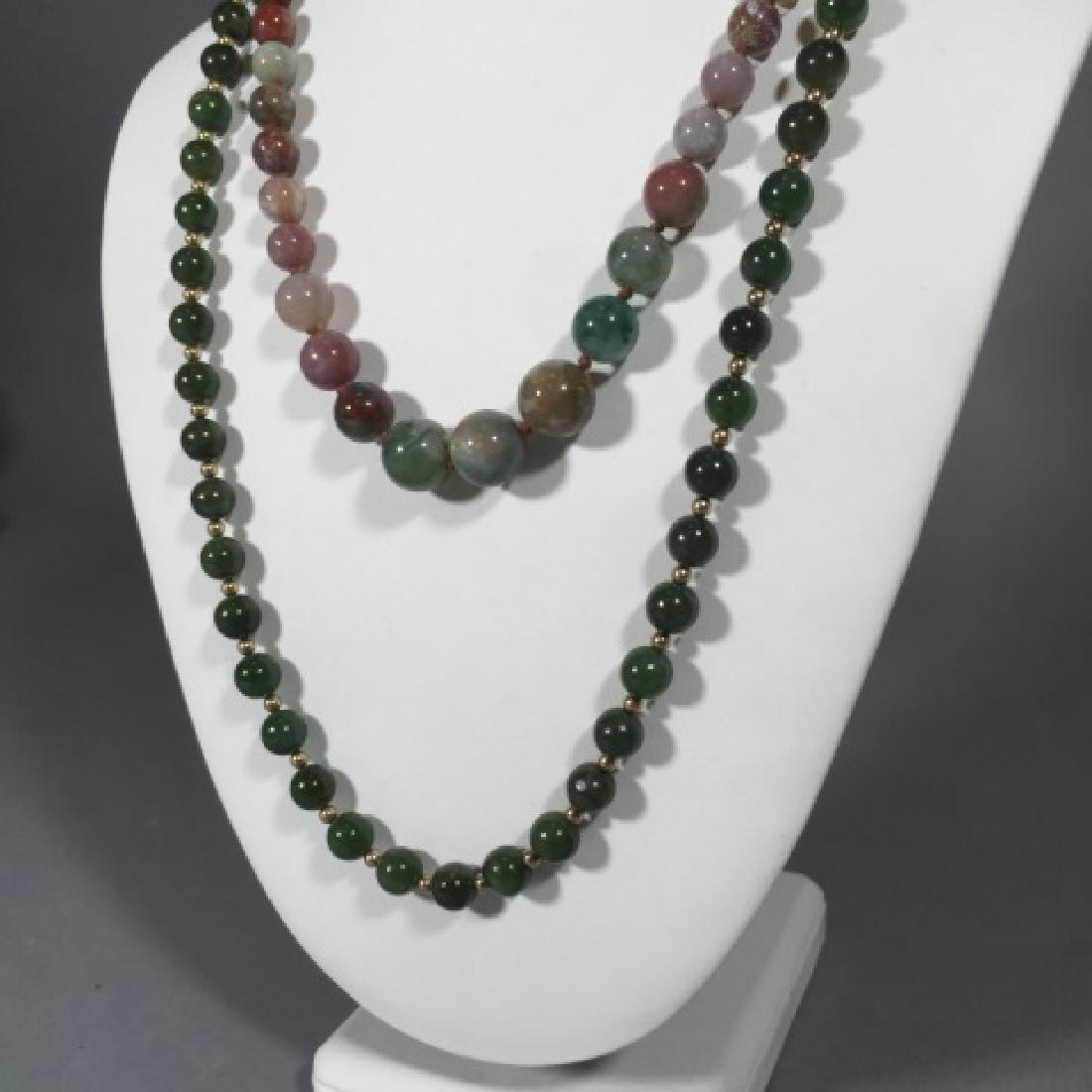 Vintage Green Jade & Agate Necklace Strands - 3