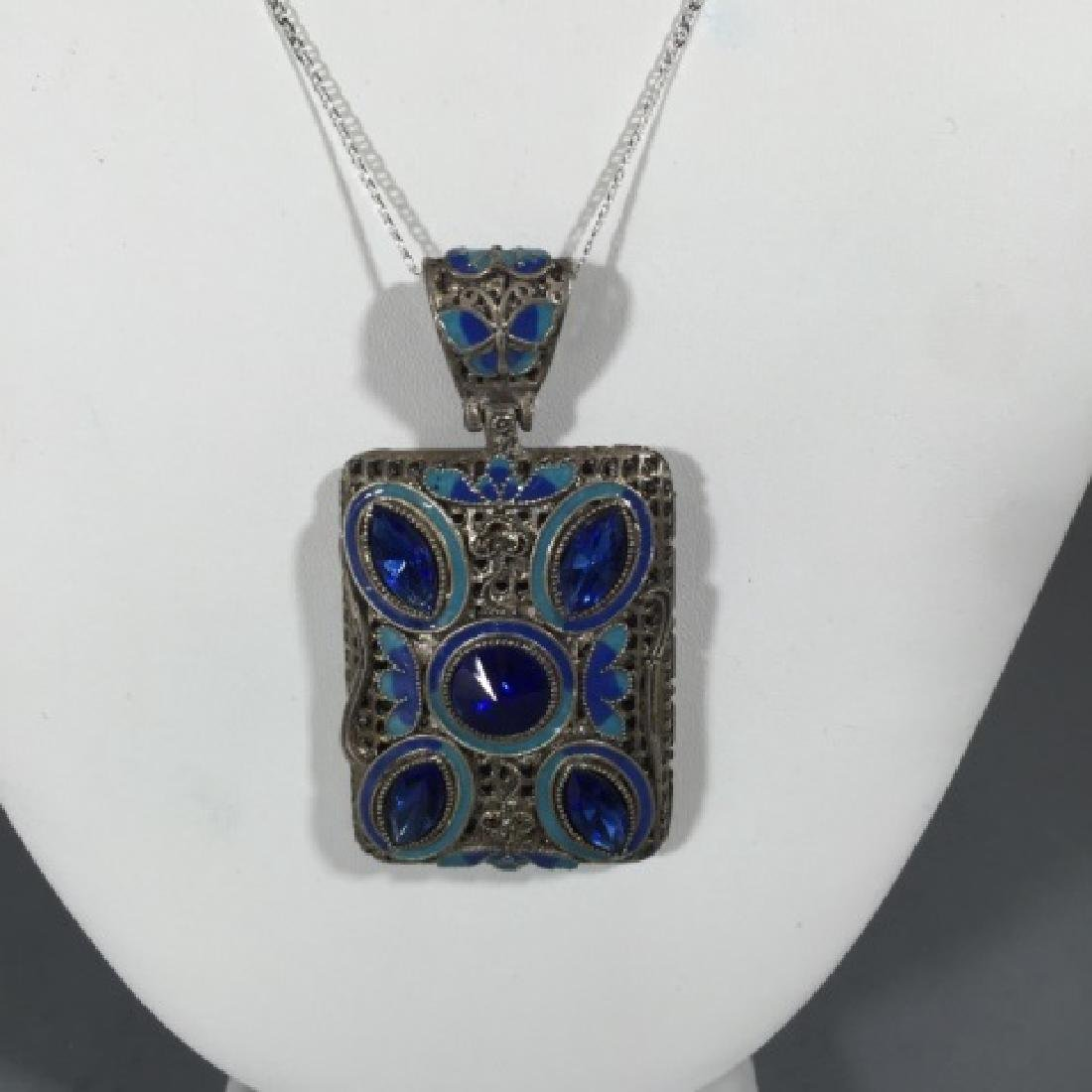 Sterling Necklace w Large Filigree Enamel Pendant