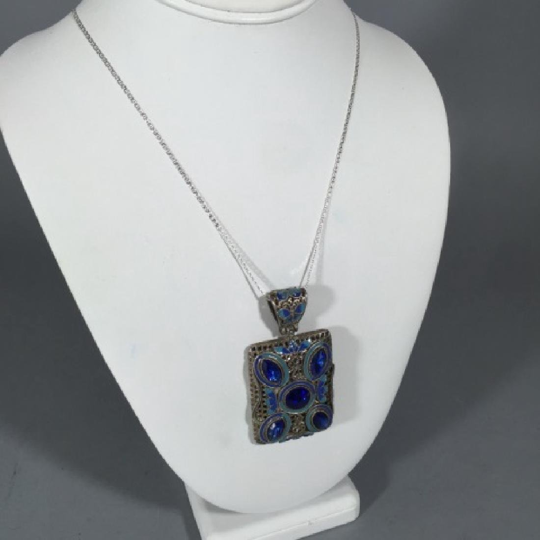 Sterling Necklace w Large Filigree Enamel Pendant - 2