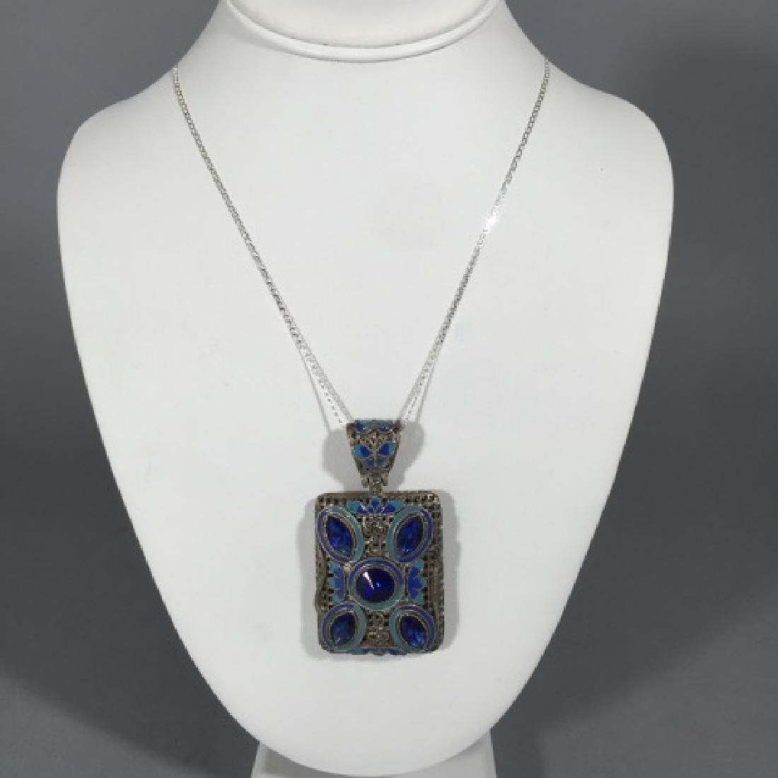 Sterling Necklace w Large Filigree Enamel Pendant - 4