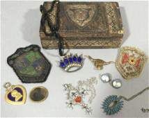 Antique & Vintage Costume Jewelry w Antique Box