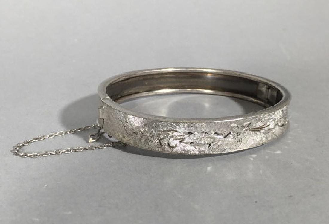 Sterling Silver Bangle Bracelet w Chased Floral