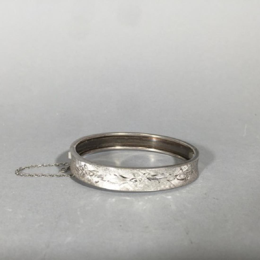 Sterling Silver Bangle Bracelet w Chased Floral - 4