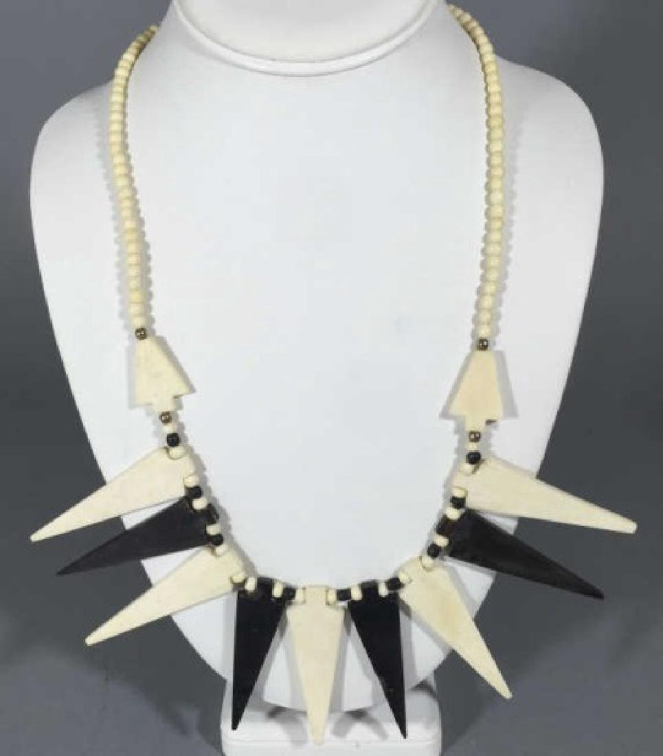 Vintage Tribal Style Black & White Bone Necklace