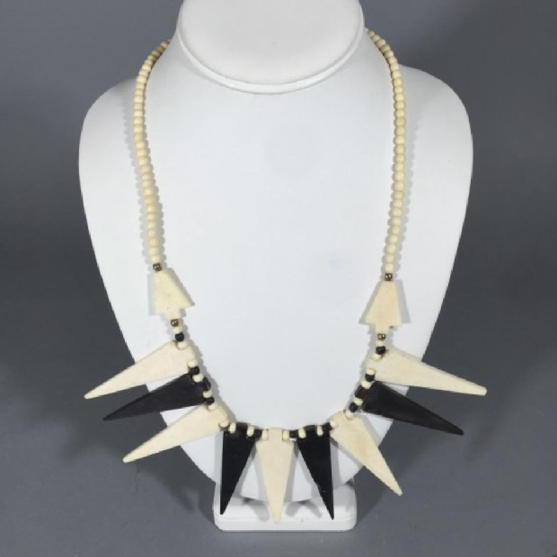 Vintage Tribal Style Black & White Bone Necklace - 4