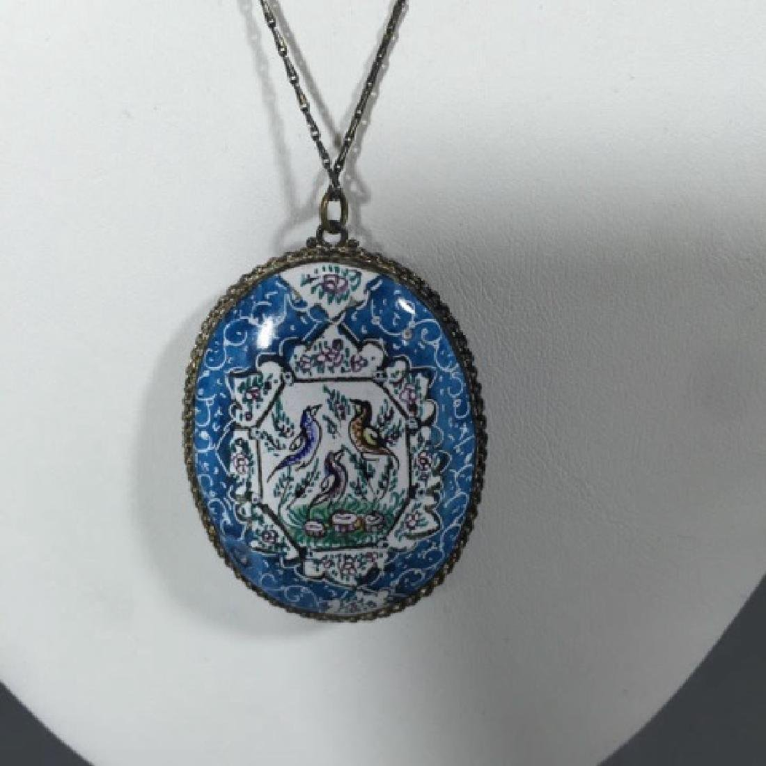 Estate Hand Painted Persian Enamel Necklace