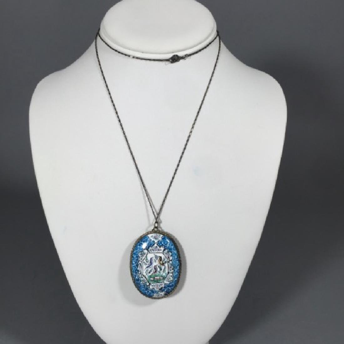 Estate Hand Painted Persian Enamel Necklace - 2