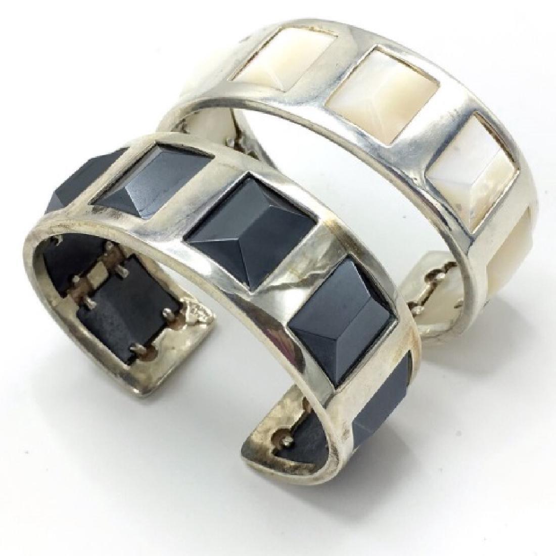 Hematite & Mother of Pearl Cuff Bracelets