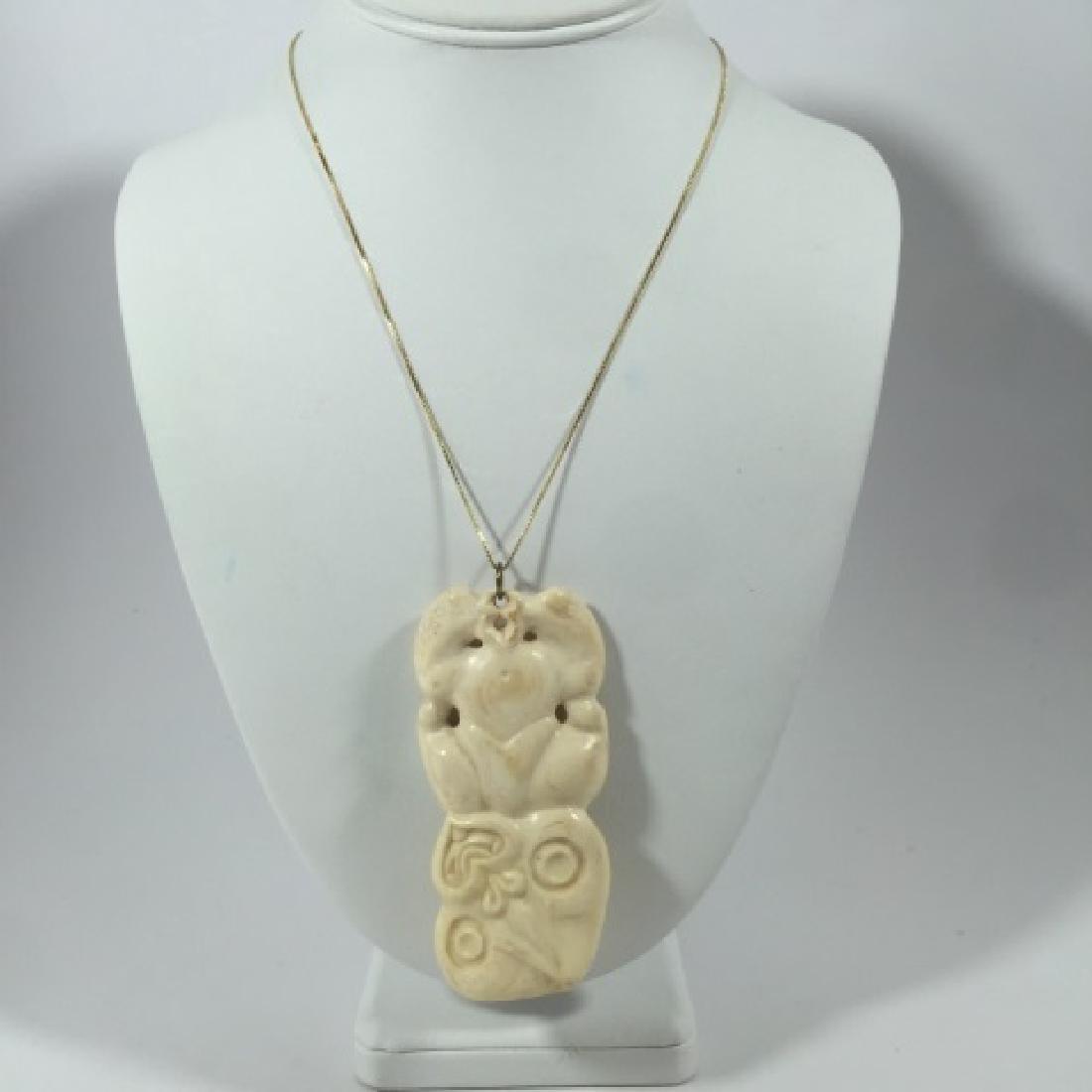 Vintage Large Hand Carved Bone Necklace Pendant - 2