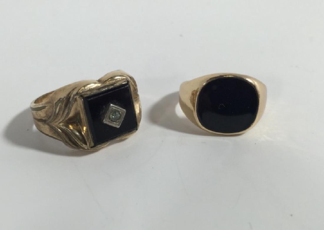 Estate / Vintage Men's Onyx & Enamel Signet Rings