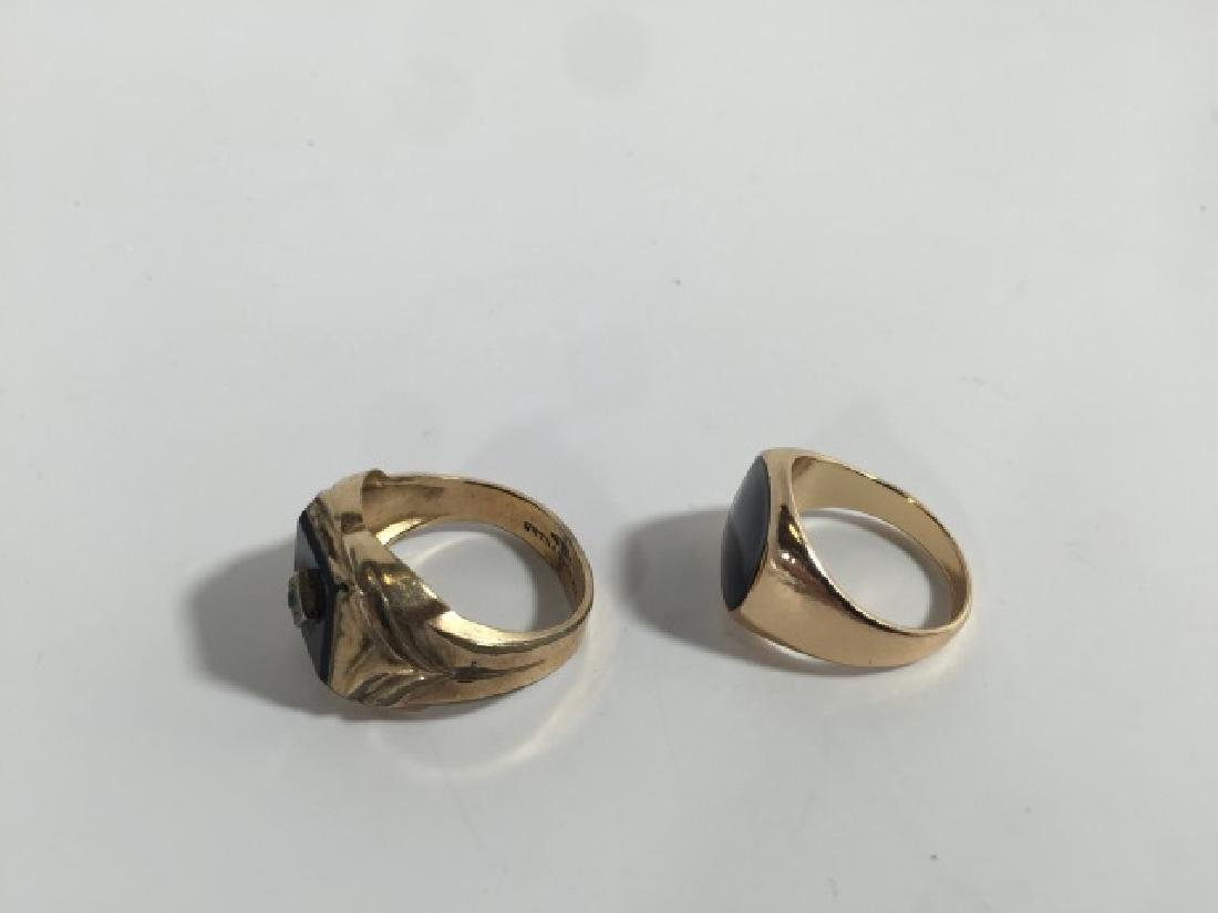 Estate / Vintage Men's Onyx & Enamel Signet Rings - 2