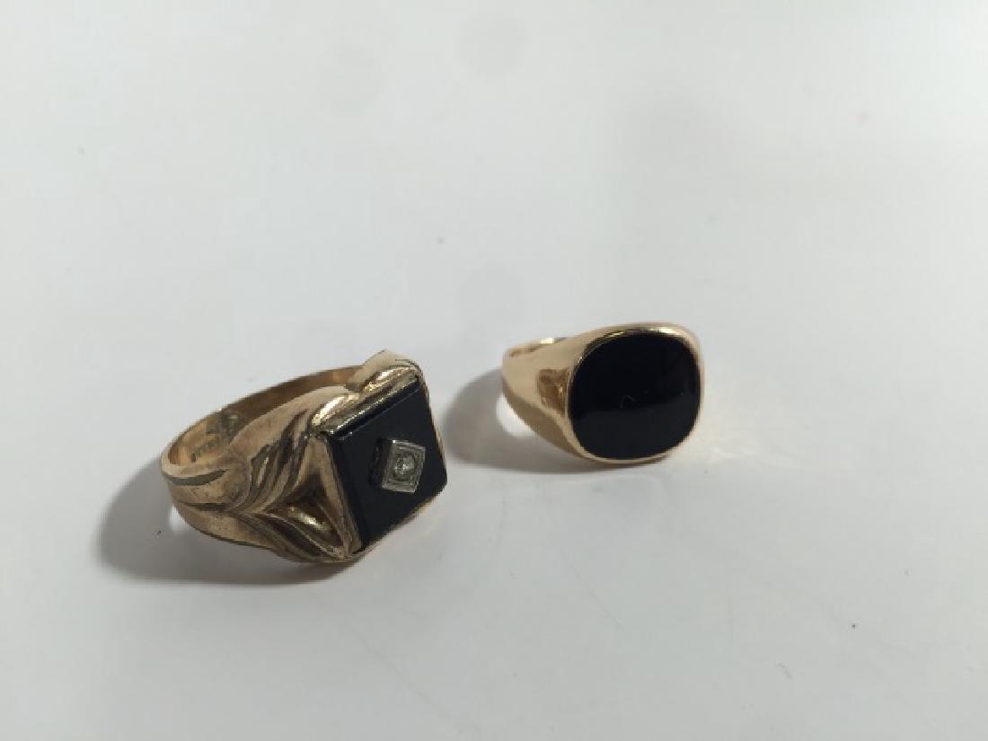 Estate / Vintage Men's Onyx & Enamel Signet Rings - 3