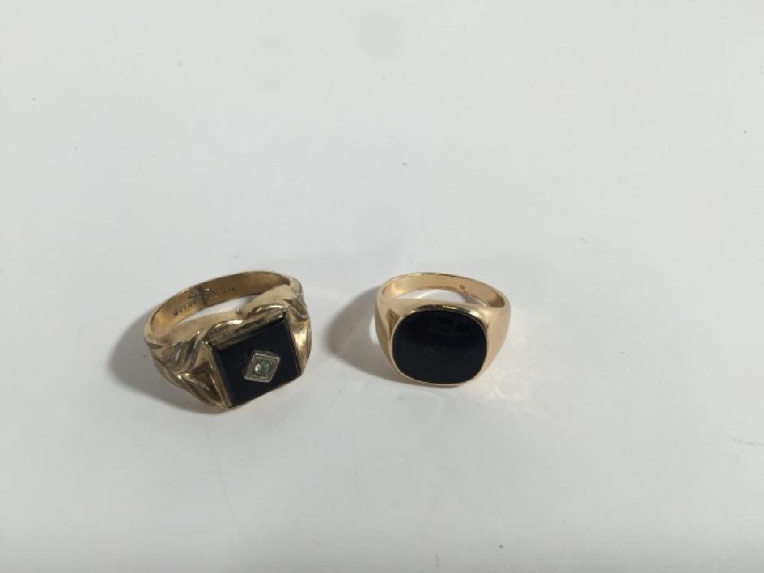 Estate / Vintage Men's Onyx & Enamel Signet Rings - 4