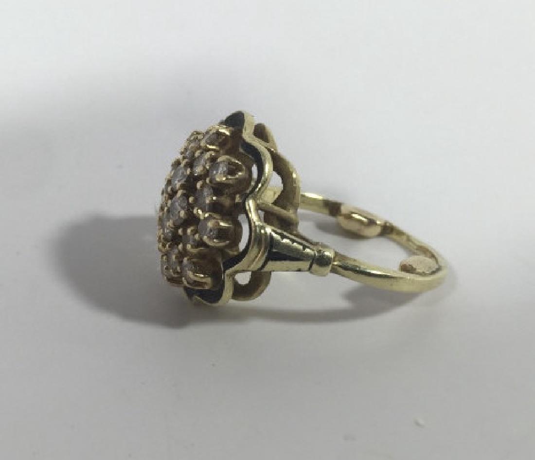 Estate 14kt Gold & 1 Carat Diamond Cluster Ring - 2