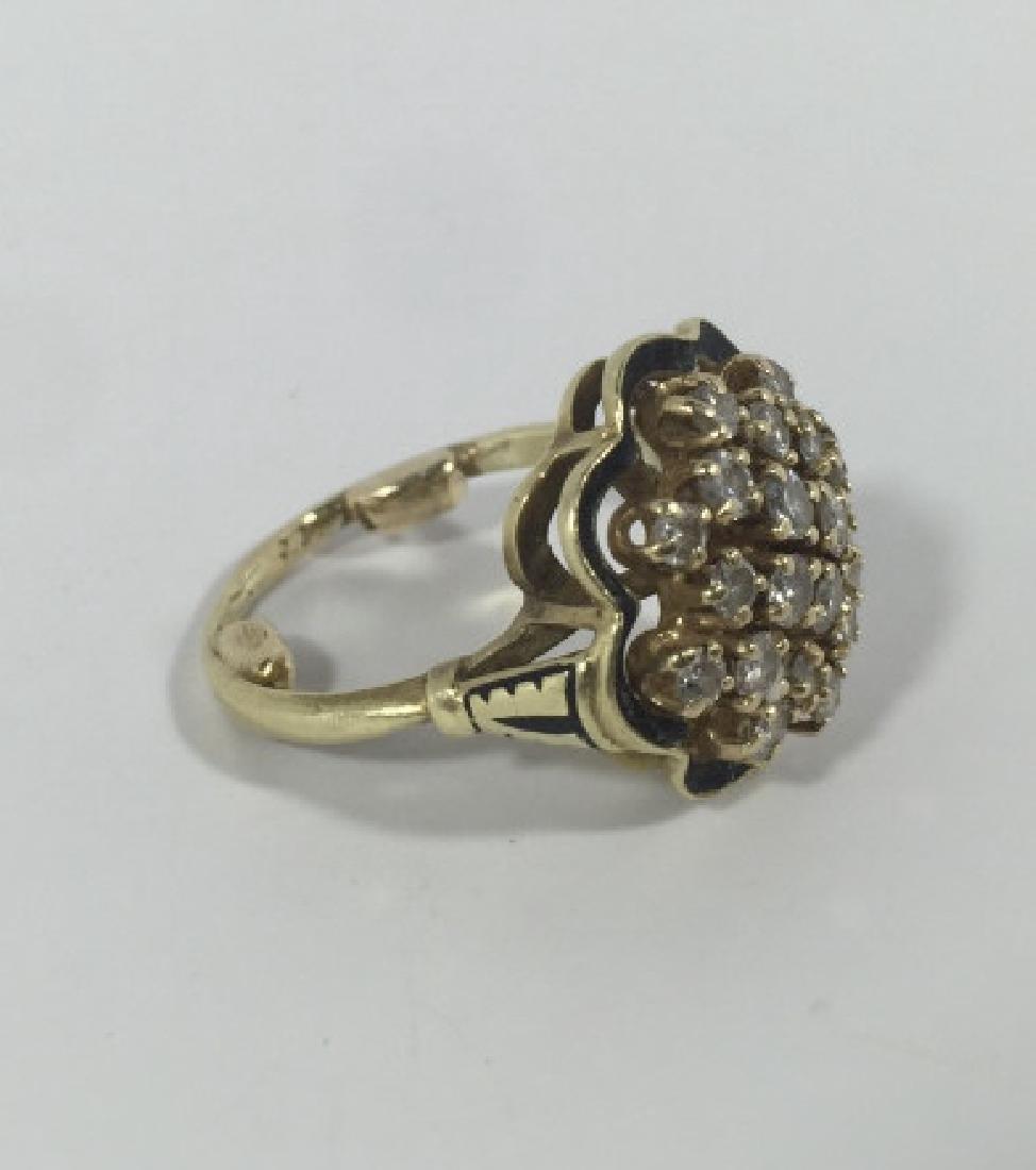 Estate 14kt Gold & 1 Carat Diamond Cluster Ring - 3