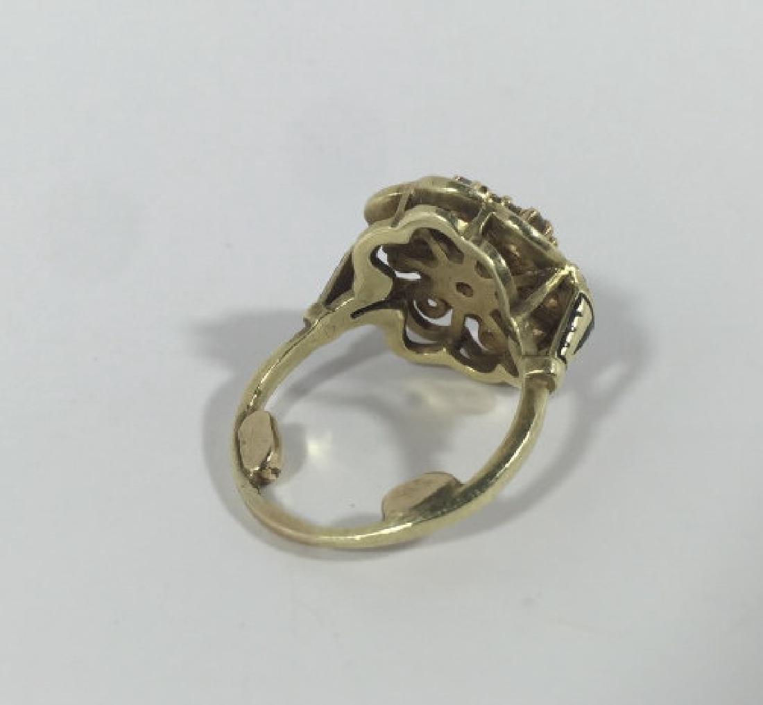 Estate 14kt Gold & 1 Carat Diamond Cluster Ring - 4