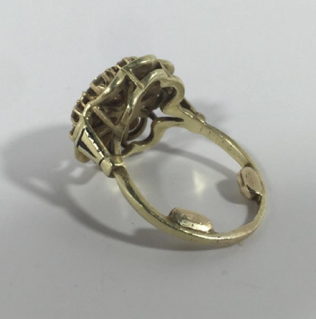 Estate 14kt Gold & 1 Carat Diamond Cluster Ring - 5