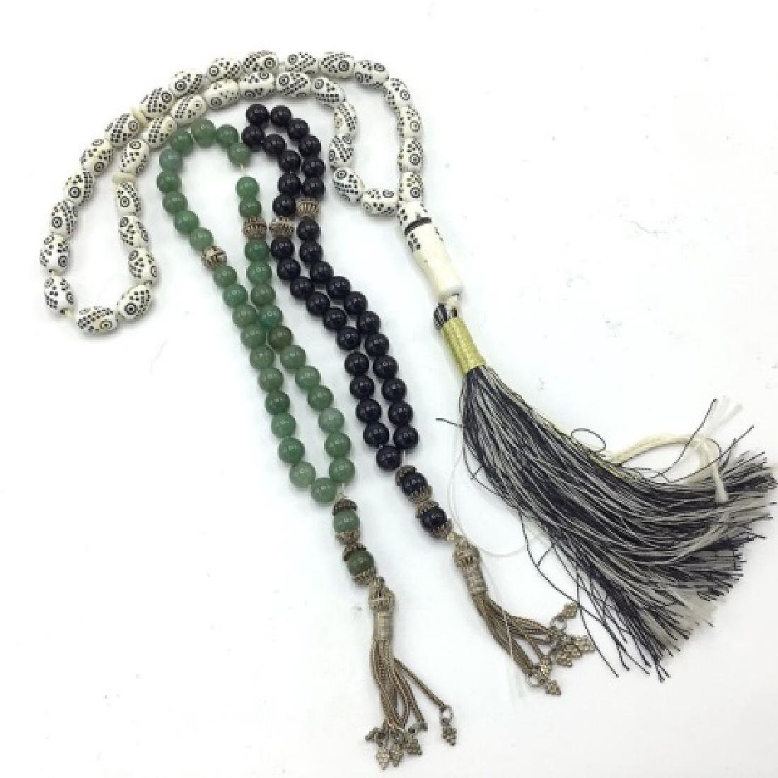 Vintage Worry Beads Silver, Jade and Onyx