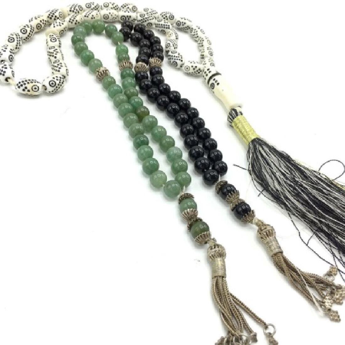 Vintage Worry Beads Silver, Jade and Onyx - 2