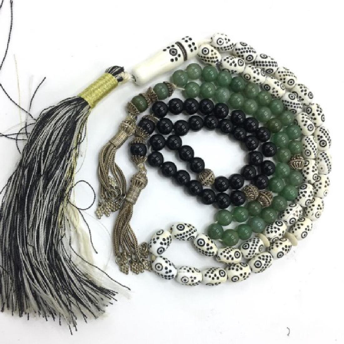 Vintage Worry Beads Silver, Jade and Onyx - 3