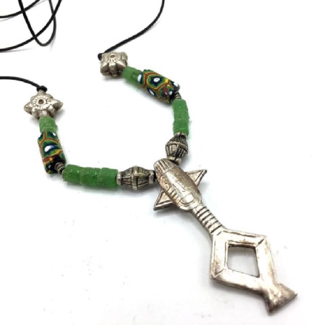 Agades Cross Mali Niger Silver w Millefiore Beads