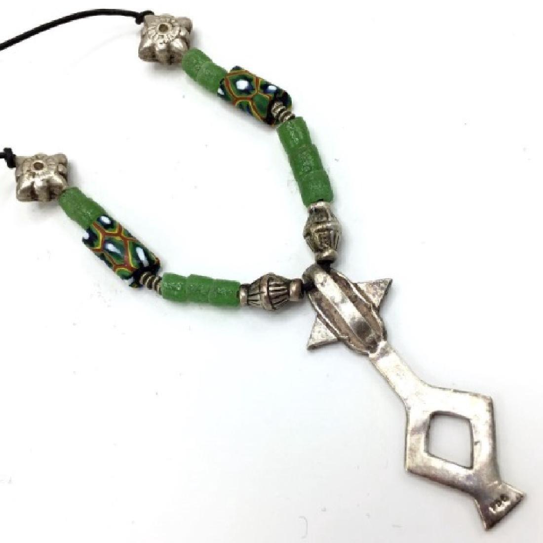 Agades Cross Mali Niger Silver w Millefiore Beads - 3