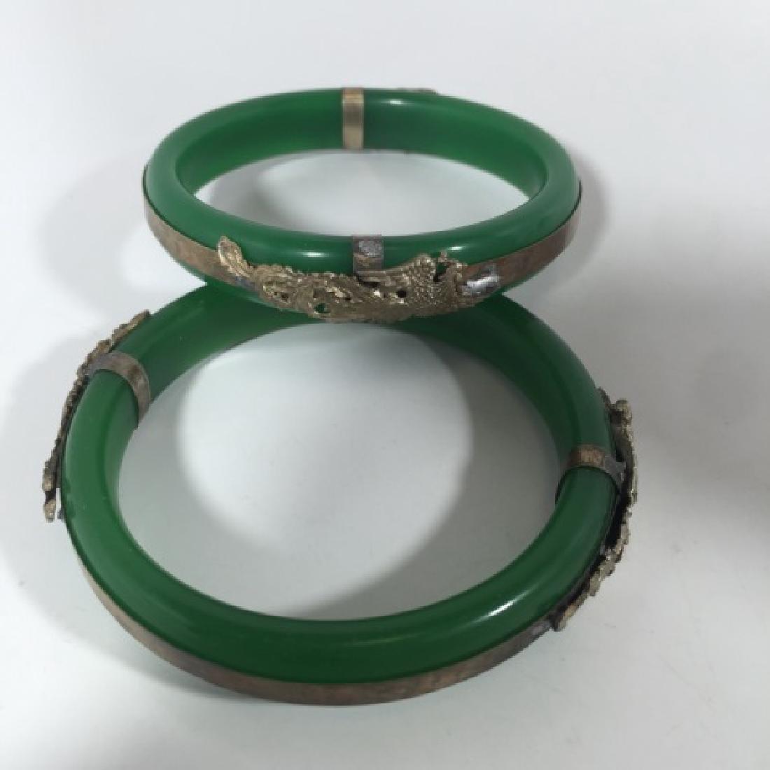 Pair Chinese Phoenix & Dragon Mount Bracelets - 5
