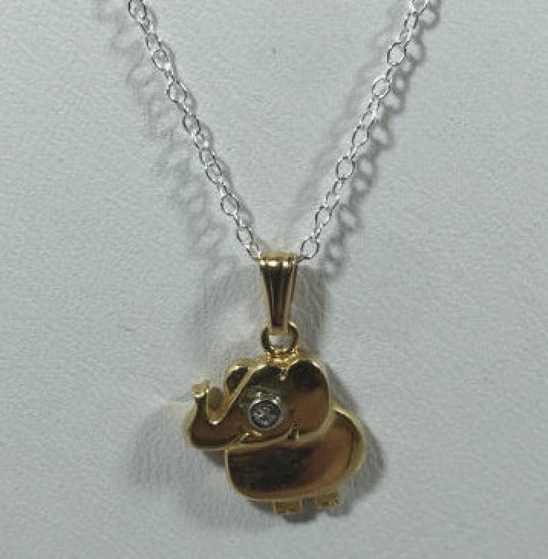 14kt Gold & Diamond Elephant Necklace Pendant