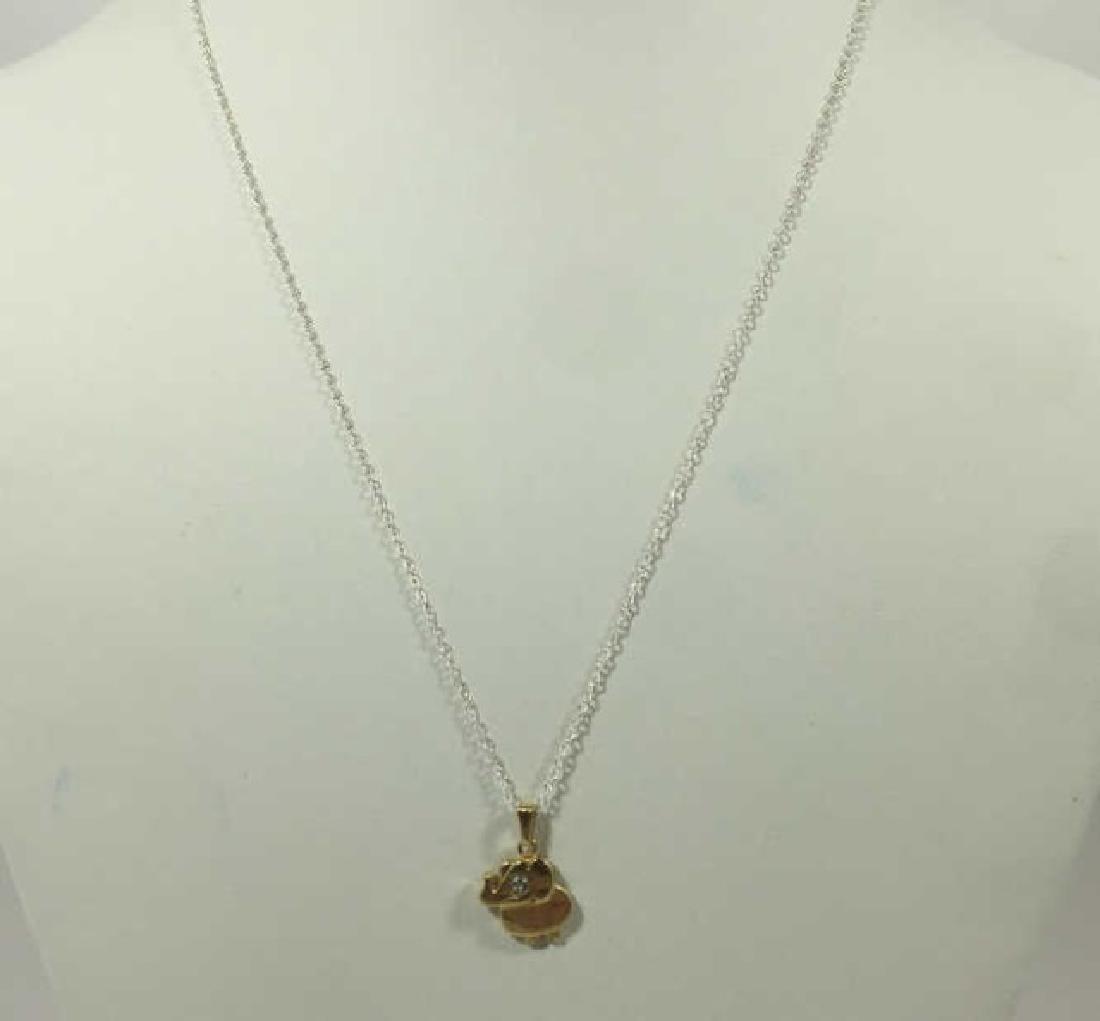 14kt Gold & Diamond Elephant Necklace Pendant - 2