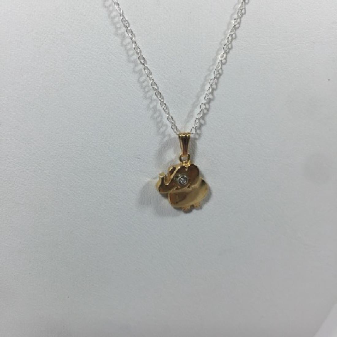 14kt Gold & Diamond Elephant Necklace Pendant - 3