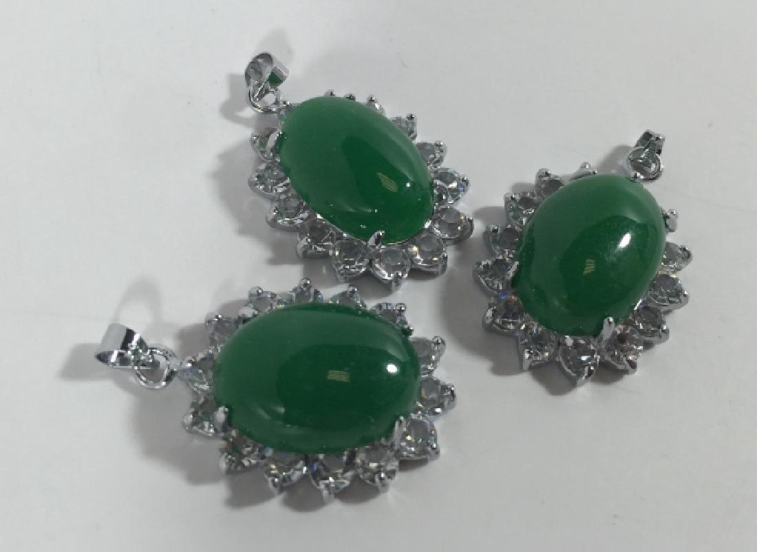 Three Large Cabochon Jade Pendants w Halo Settings