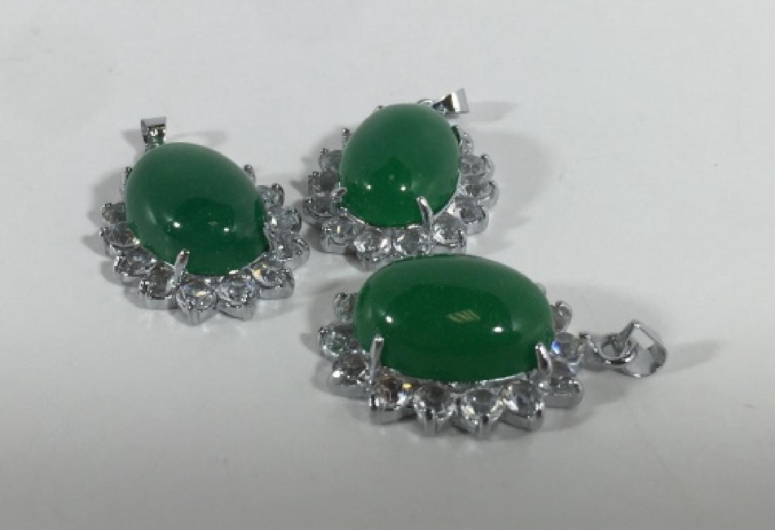 Three Large Cabochon Jade Pendants w Halo Settings - 2