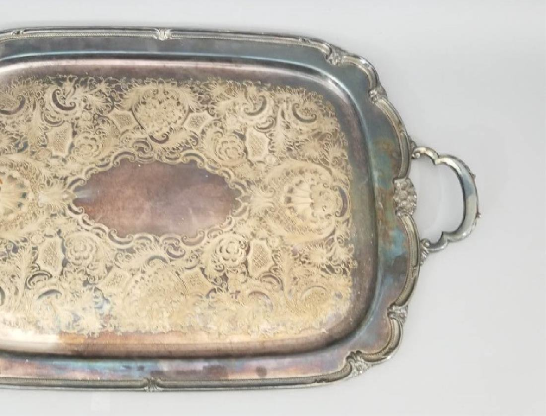 Antique Rogers Brothers Rococo Silver Plate Tray - 4