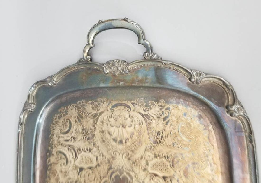Antique Rogers Brothers Rococo Silver Plate Tray - 5