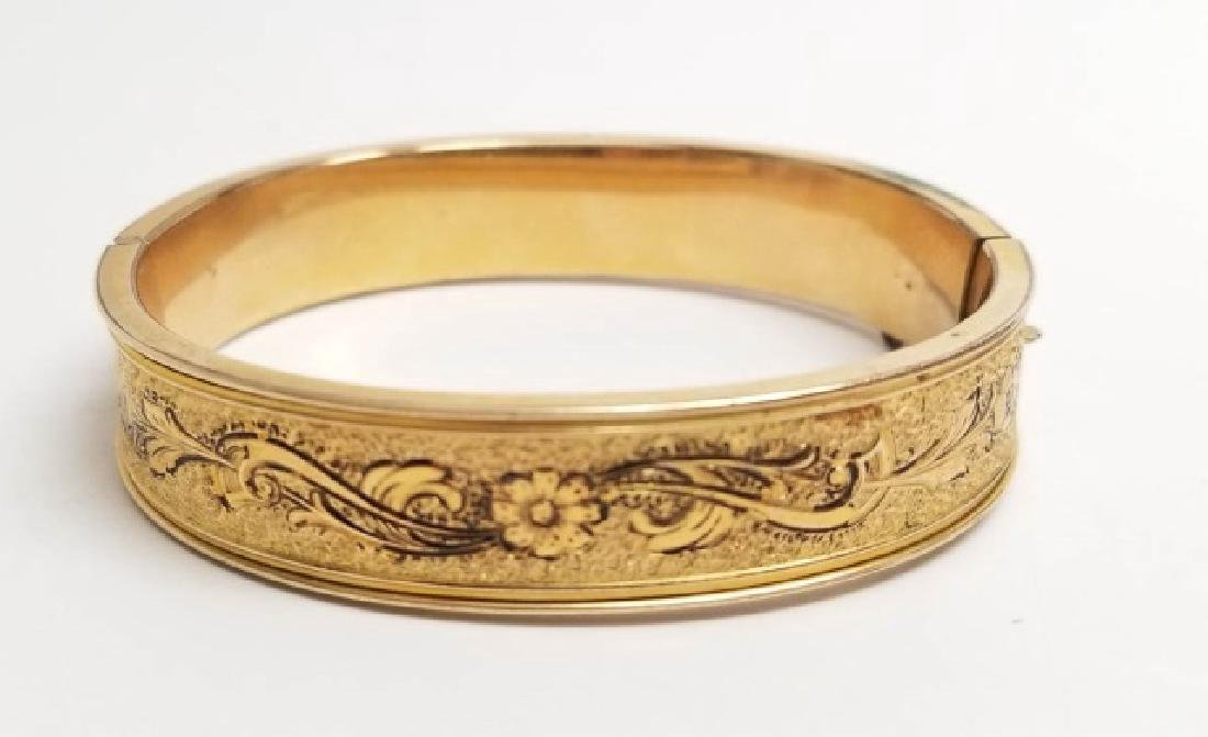 Antique Victorian Floral Motif Niello Gold Bangle