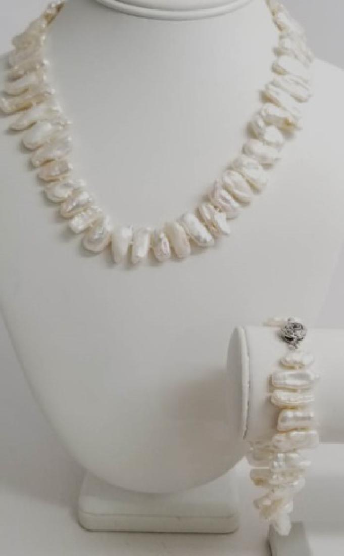Set High Luster Baroque Pearl Necklace & Bracelet