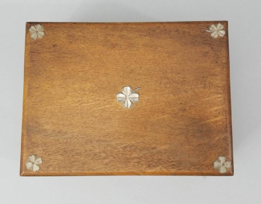 Antique 19th C Four Leaf Clover Motif Jewelry Box