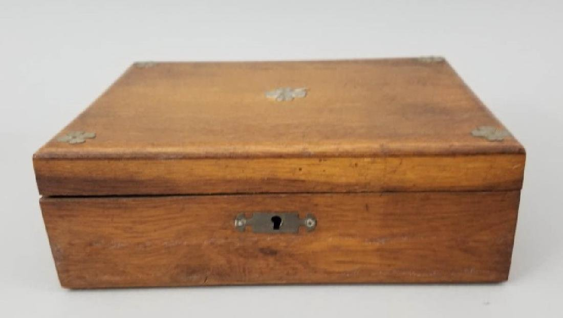 Antique 19th C Four Leaf Clover Motif Jewelry Box - 2