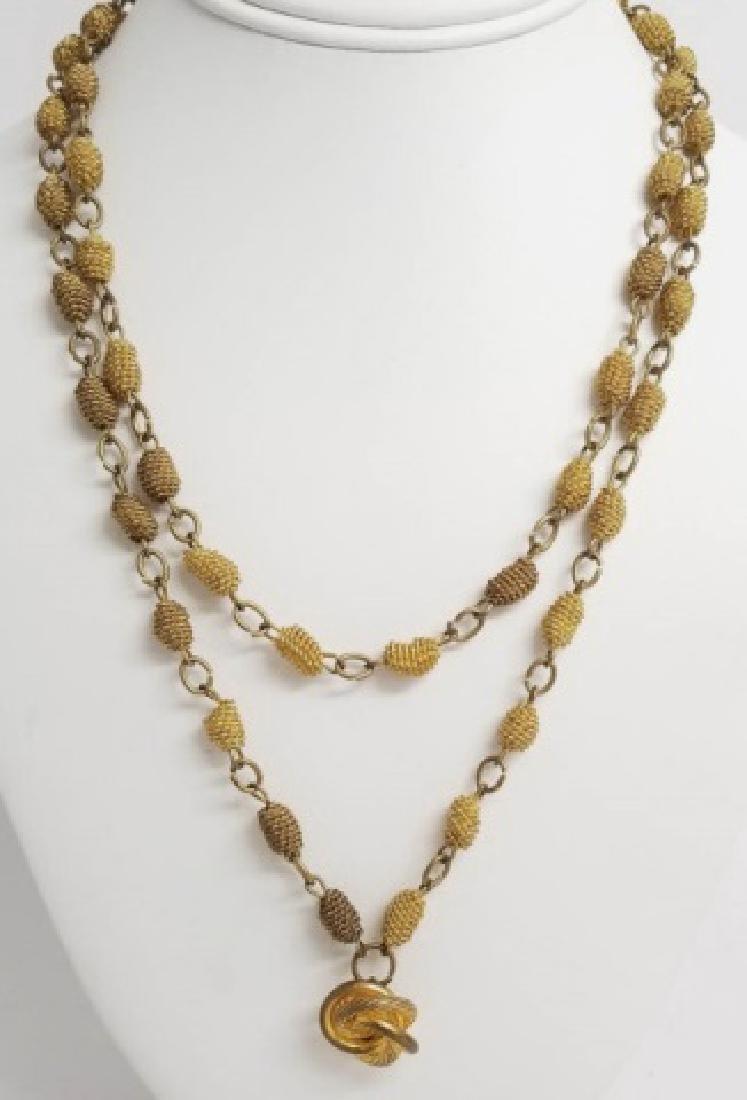 Antique Victorian Knot Motif Gold Tone Necklace