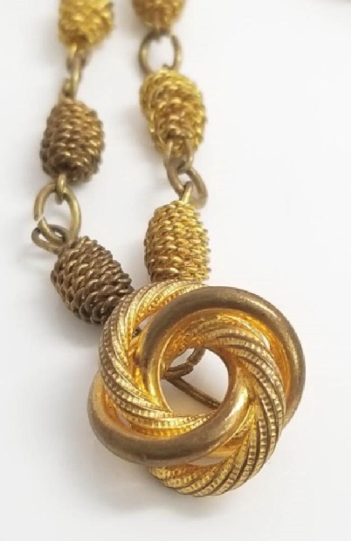 Antique Victorian Knot Motif Gold Tone Necklace - 3