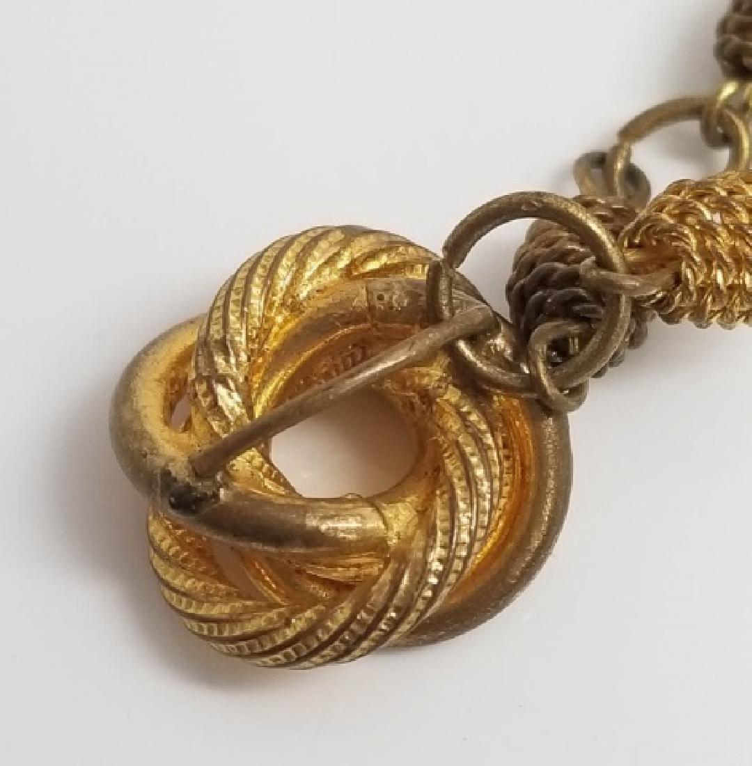 Antique Victorian Knot Motif Gold Tone Necklace - 5