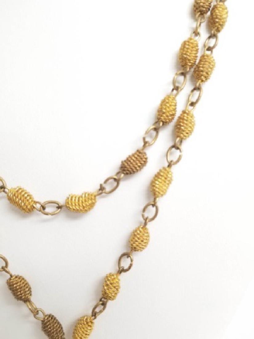 Antique Victorian Knot Motif Gold Tone Necklace - 7