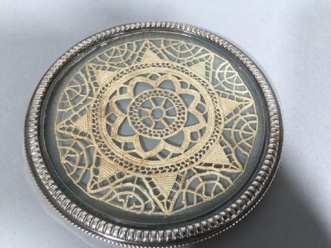Antique Sterling Silver Glass & Lace Wine Coaster - 4