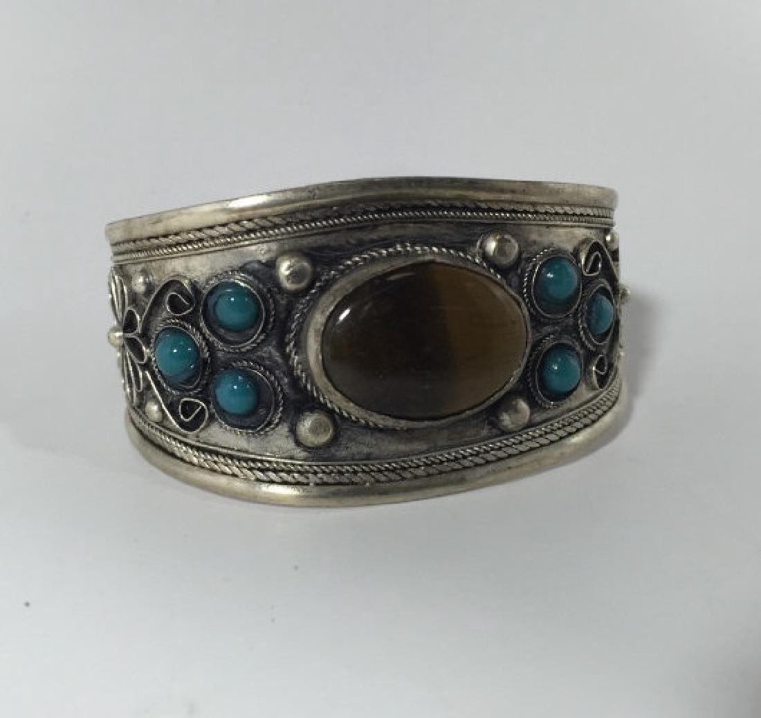 Tibetan Style Tiger's Eye Cabochon Set Bracelet