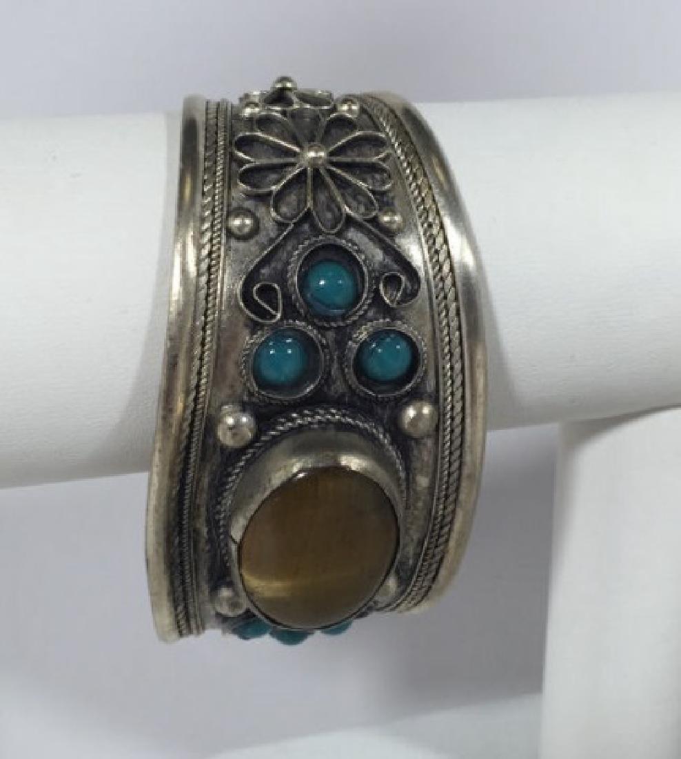 Tibetan Style Tiger's Eye Cabochon Set Bracelet - 2