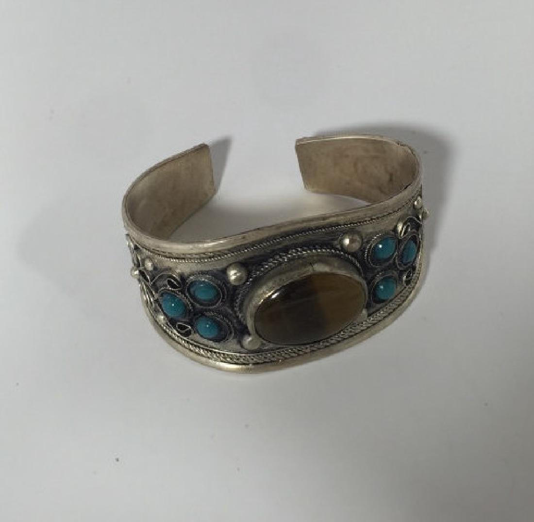 Tibetan Style Tiger's Eye Cabochon Set Bracelet - 3