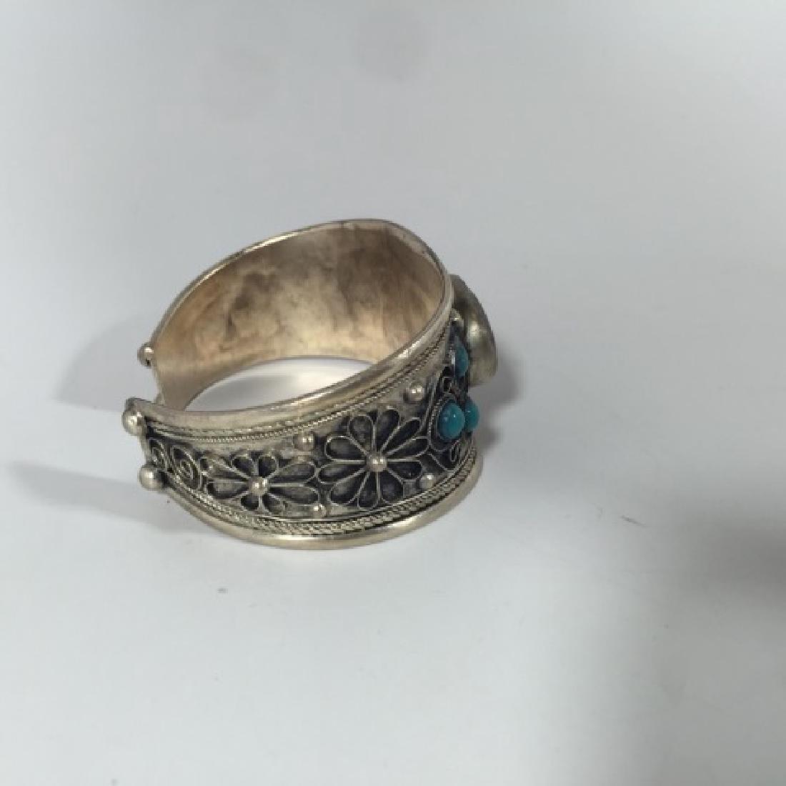 Tibetan Style Tiger's Eye Cabochon Set Bracelet - 4