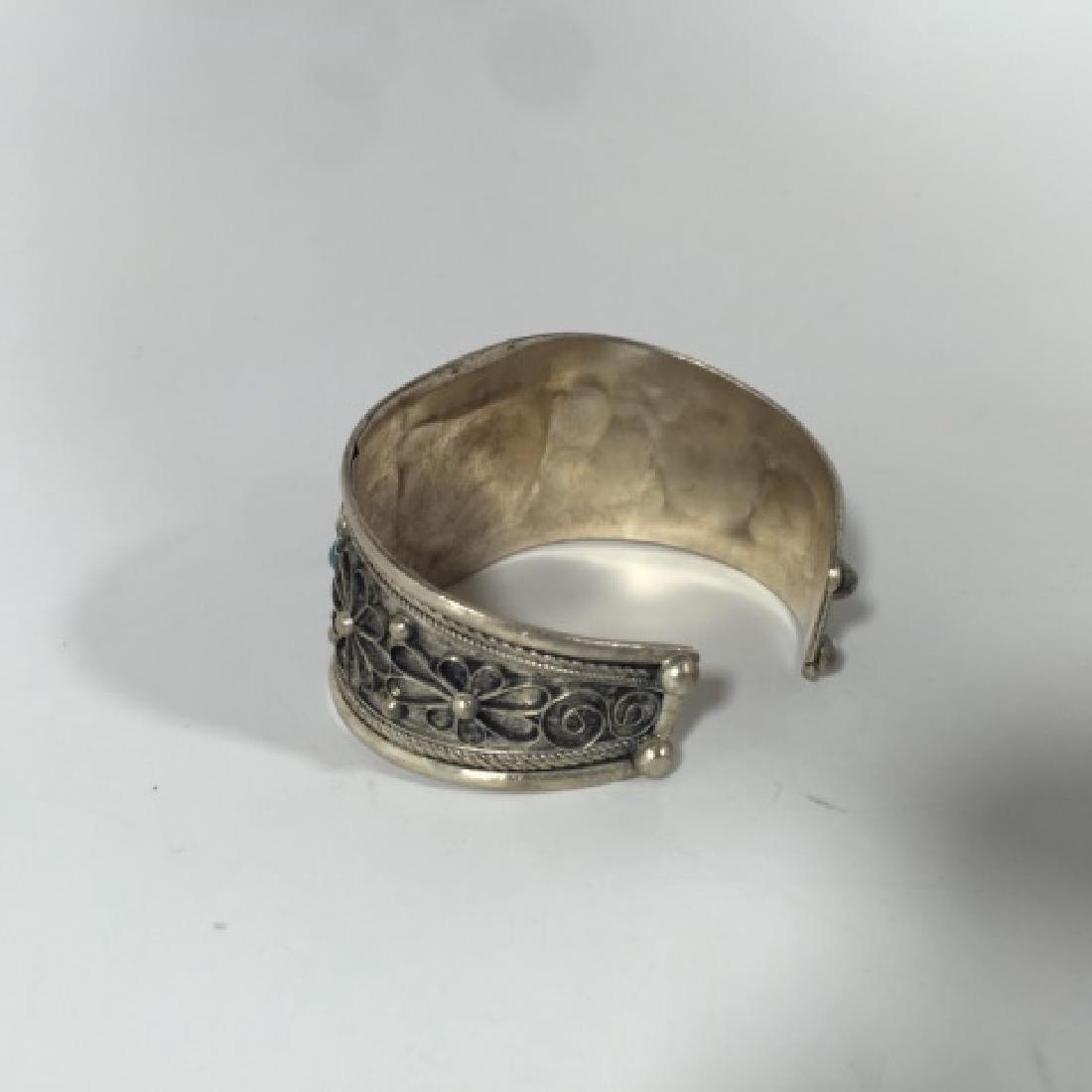 Tibetan Style Tiger's Eye Cabochon Set Bracelet - 5